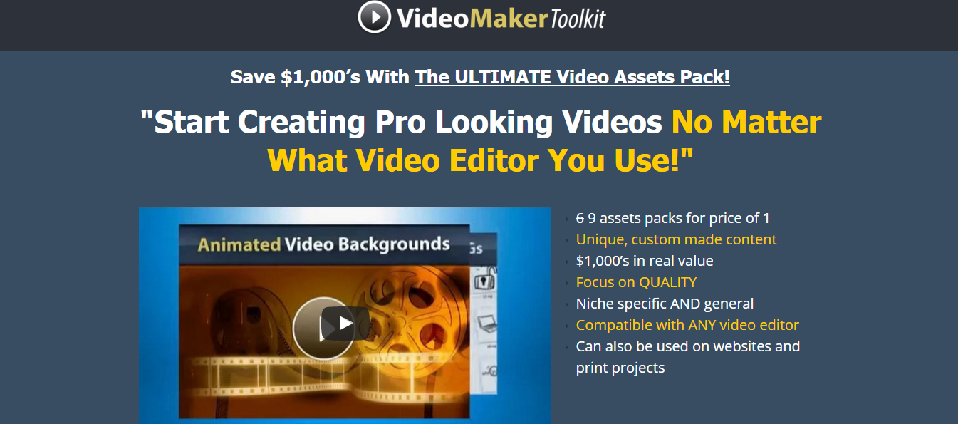 Video Maker ToolKit V1 – 9 assets packs for the price of 1